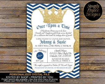 Royal Baby Shower Invitation - Little Prince Baby Shower Invitation