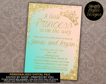 Peach, Teal, and Gold Princess Baby Shower Invitation