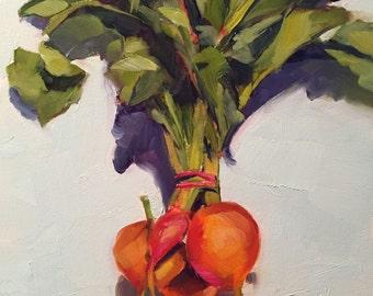 golden beets // original art // beets // vegetable painting // kitchen art // wall art // beet painting // kitchen art // fine art