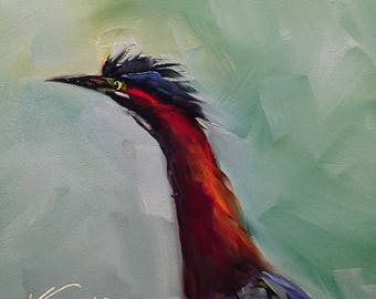 green heron // bird // bird art // bird painting // heron painting // original art // daily painting // art // early bird painting