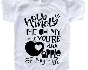 White with Black Valentine's day Apple shirt.
