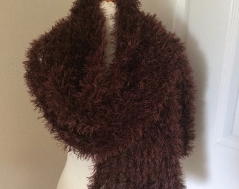Handmade by Mrs Smith Soft Fluffy Chocolate Brown Scarf