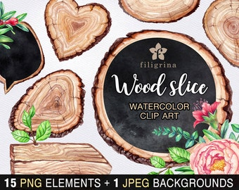 Rustic WATERCOLOR Clip Art. Wood slice tag, chalkboard banner, vintage flower, wedding card invitation. 15 elements, bonus! Read about usage