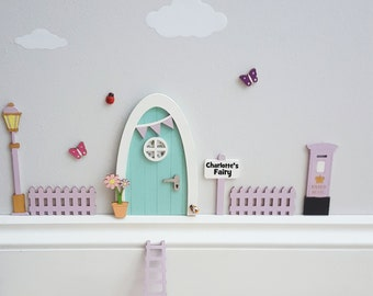 Fairy door kit with personalised signpost - fairy house - fairy accessories - tooth fairy- elf - indoor fairy door