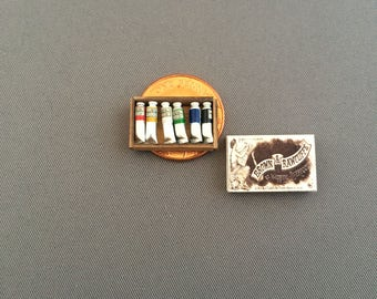 Handmade one twelfth scale dollshouse miniature oil paint set