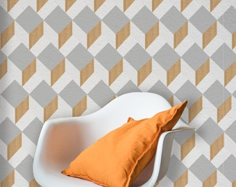 Cube Print, Removable Wallpaper, Self Adhesive or Paste&Glue Wallpaper, Wood Effect Interior Decor