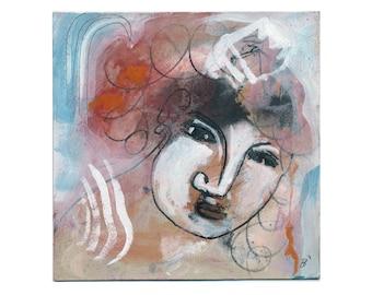 Portrait woman 20/20 cm (7.87 x 7.87 inches)