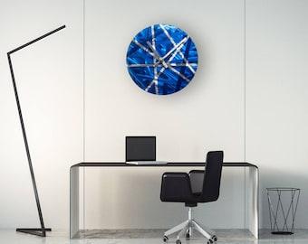 Blue Modern Wall Clock ''ARCHELAUS'', Contemporary Metal Wall Clock, Unique Wall Clock, Home Decor, Silent Wall Clock, Metal Wall Clock