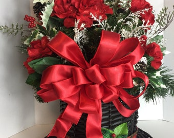 Christmas Floral Arrangement in Snowman Hat