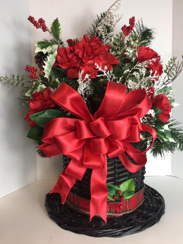 Christmas floral arrangement in snowman hat