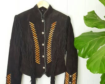 90s Black Suede Leather Fringe Jacket - Western Native American Style | Labeled Size Medium