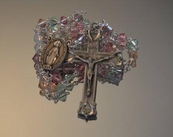 Tenderness Swarovski crystals Rosary, Miraculous Medal, Rosary, Rosaries, Handmade