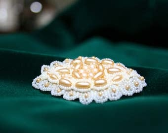 Incredible Hand-Made 30's Seed Pearl and Glass Bead Wedding Brooch