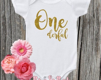 One-derful , Birthday Onesie , Newborn , Birth month , Baby girl , Photo Prop , Cake Smash , First Birthday