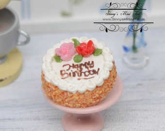 1:12 Dollhouse Miniature Happy Birthday Cake with Red Rose Trim/ Miniature Cakes BD K2127