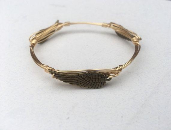 Clearance Sale, Angel wing bangle, wing bangle bracelet, Wire wrapped bangle, handmade bangle