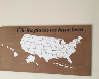 oh, the places we have been 12x24 hand painted wood sign. With hearts to mark places.