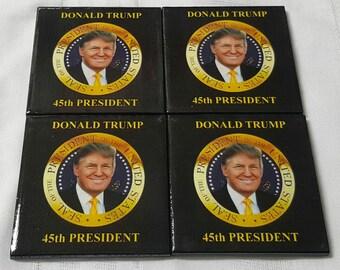 Donald Trump President Ceramic Tile Drink Coasters / Set of 4 Donald Trump 45th President Coasters