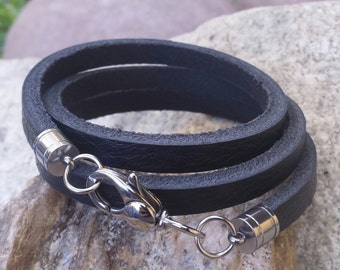 FREE SHIPPING-Mens Leather Bracelet, Triple Wrap Black Leather Bracelet, Fathers Day, Groom Gift, Stainless Steel Clasp, Mens Jewelry