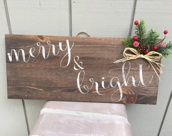 Rustic Christmas Winter Wood Hand painted wooden sign, meery & bright, Christmas wall decor, holiday wall decor