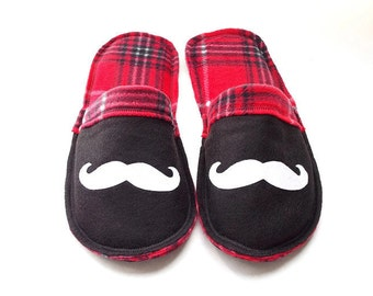Red Slippers for Men Mustache Gift, Santa Slippers, House Shoes Men, Felt Slipper Fleece Lining, Guy Slippers, Teen Slippers, Indoor Shoes