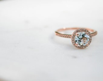 Round Aquamarine Diamond, Halo Engagement Ring, Diamond, Rose Gold, Halo Diamond, Engagement Ring