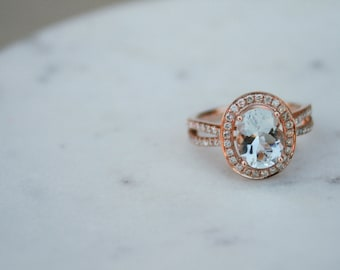 Oval Aquamarine Diamond Ring, Halo Engagement Ring, Rose Gold, Diamond, Diamond Ring, Engagement Ring, Fancy Ring