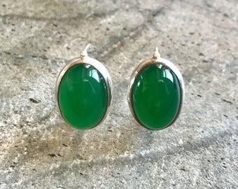 Emerald Earrings, Large Emerald, Created Emerald, Green Emerald, Green Earrings, Emerald Green, Vintage Earrings, Silver Earrings, Emerald