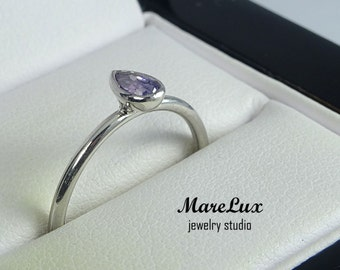 Pear Cut Amethyst Silver Ring, 5x3 mm Pear Teardrop Synthetic Amethyst CZ Stacking Ring, Classic Man Made Amethyst Ring, Amethyst Stacker