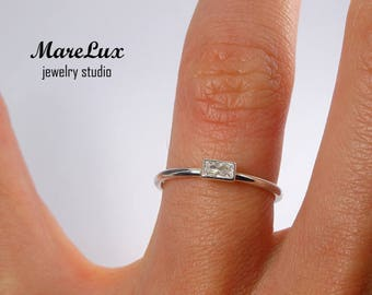 Diamond Baguette Cut Sterling Silver Ring, April Birthstone CZ Ring, White Shiny Cubic Zirconia Ring, Stackable 925 Silver Slim Diamond Ring