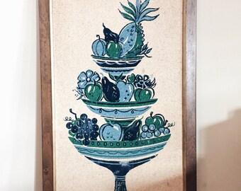 Large blue and green fruit bowl wall hanging, antique fruit bowl wall art, wooden framed fruit bowl art, 3 tier fruit bowl, velvet detail