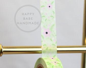 "Green Flower Washi, 9/16"", 10 Yd, Pink Flower Washi, Green Washi Tape, Decorative Tape, Garden party, Green Tape, Masking Tape, Floral Washi"