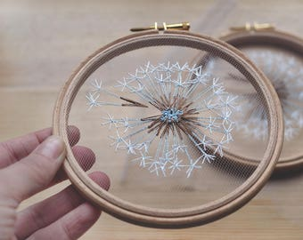 Make a Wish Dandelion Tulle Embroidery Hoop Art - Bridesmaid, Housewarming Gift - OOAK Home Wall Art Decor- Hand Embroidery by Velvet Meadow