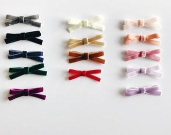 the VELVET bow || Velvet bow set, your choice of TWO or THREE, elastic headband or alligator clip