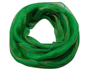Green Scarf, Printed Poly Silk Scarf, Scarves and Wraps, Scarves, Green Scarves, Woman Green Scarves, Long Women Scarf SF552
