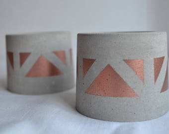 Copper Concrete Planter - Chevron