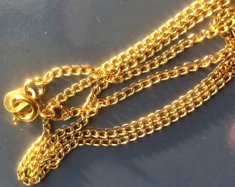 "Simple Gold plated Ring Chains Necklace Hooks Clasp 16.5"", 40 cm"