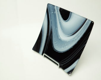 "Black & White fused glass 8"" plate"