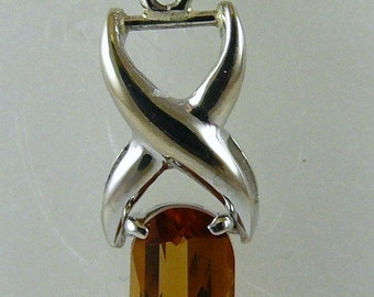 Citrine Rectangle Shape Pendant 14k White Gold with Enhancer