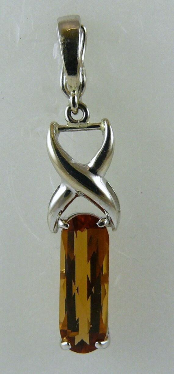 Citrine Rectangle Shape Pendant 14k White Gold with Enhancer