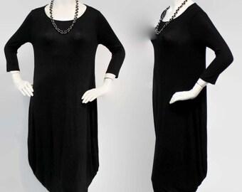 Designer Lagenlook Dress, Vesrsatile Dress, Designer Full Sleeve Dress, Charcoal Black Color, Sizes S, M, L