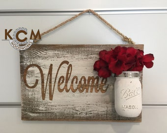 Welcome Rustic... sign - Hand painted, Rustic Wood Sign, Distressed Sign, Home Wall Decor, Wood Stain Sign