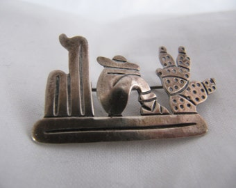 V. Mendez Taxco Sterling Brooch, 1940's Mexican Siesta Cactus, 925 Sterling Silver Pin, Signed V. Mendez Brooch