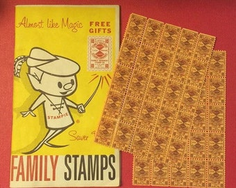 Midcentury Grocery Family Stamps Savings Book and Uncut Stamp Sheets Sweet 1950s Graphics Throughout