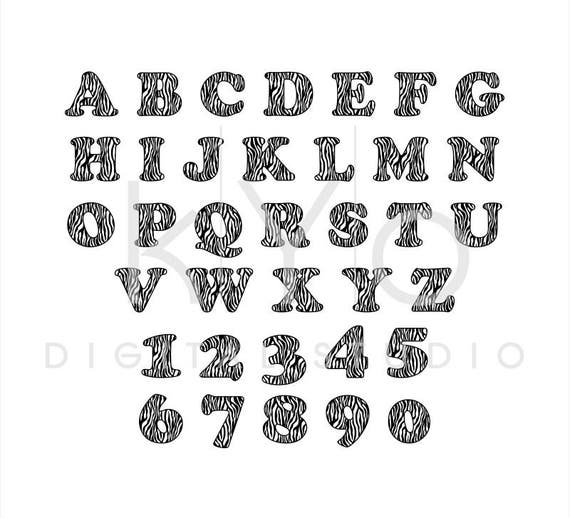 Zebra Print Font, Installable font, Zebra Print Alphabet ... Zebra 0 Font