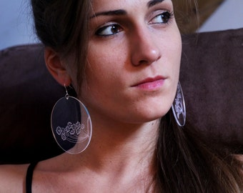 Earrings, jewelry, Modern and contemporary, elegant, Chic, transparent Plexiglas grave by hand, very light