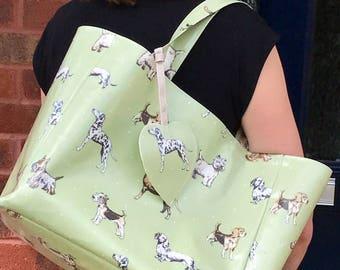 Reusable Shopping Bag- Oilcloth Tote Bag  – Shopping Bag – Beach Bag – Oilcloth Bag – Shoulder Bag – Dog Owner Bag – Market Tote - Dog Owner
