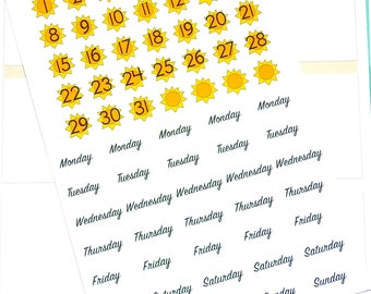 Sun Date Cover Stickers - Date Cover up Stickers - Planner Stickers - Date Stickers - Summer Stickers