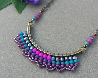 Woven Crescent Necklace >> Made-To-Order >> Orchid, Purple, Fuchsia, Teal, Turquoise in Antique Brass >> Boho Style, Bead Weaving