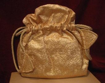 AVON GOLD LAME Drawstring Evening Bag Purse Handbag, Vintage 1950s Satin Liner, Zippered & Lipstick Compact Compartment IoB 301